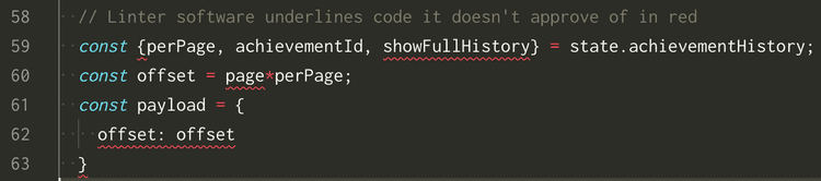 Linting tools underlining in red